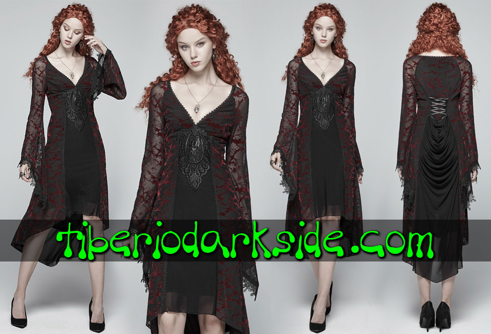 - VICTORIAN GOTH PUNK RAVE Red Blood Flocade Gothic Dress