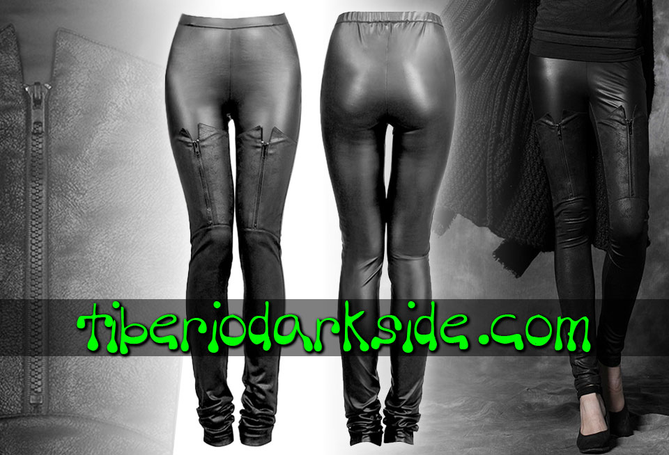 MILITARY GOTH - Trousers PUNK RAVE Zip Synthetic Leather Leggings