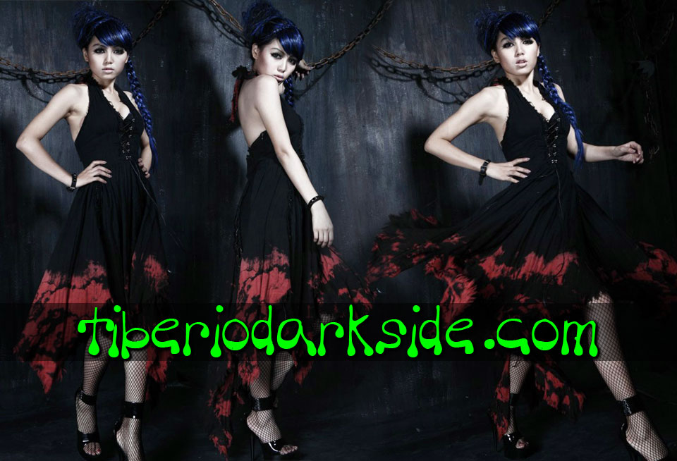 - VICTORIAN GOTH PUNK RAVE Bloody Tye Dye Halter Gothic Dress