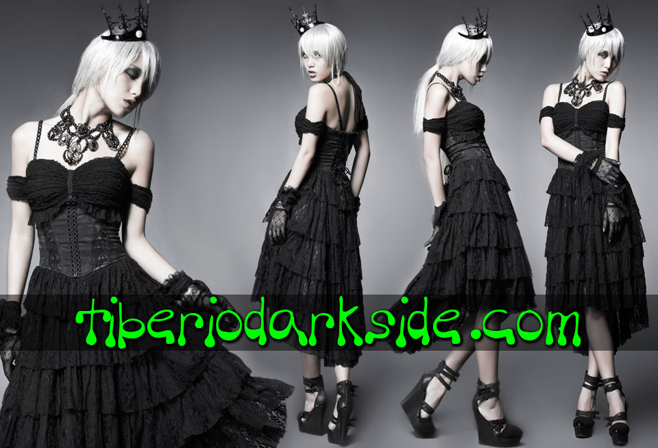 Dresses - Short - Short Sleeve PUNK RAVE Lace Frills Carmen Folk Goth Dress