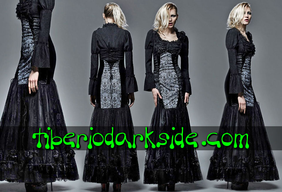 - VICTORIAN GOTH PUNK RAVE Damask High Waist Skirt