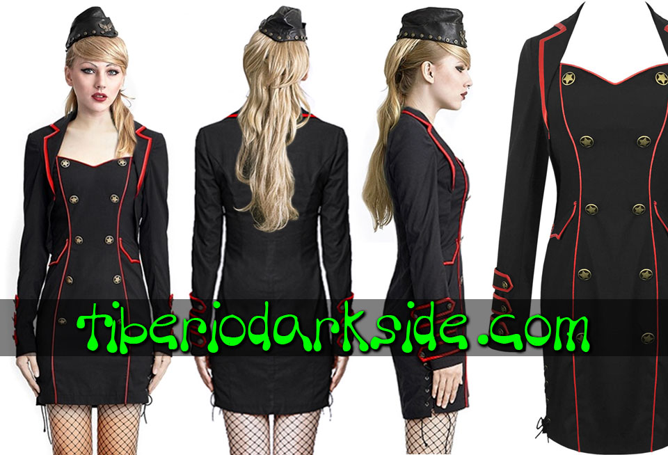 CORPORATE & MILITARY GOTH - Vestidos PUNK RAVE Vestido Militar Uniforme Negro