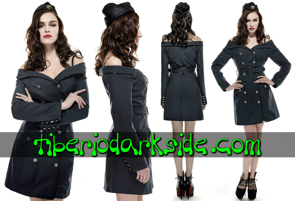 CORPORATE & MILITARY GOTH - Vestidos PUNK RAVE Vestido Militar Uniforme Hombros Descubiertos