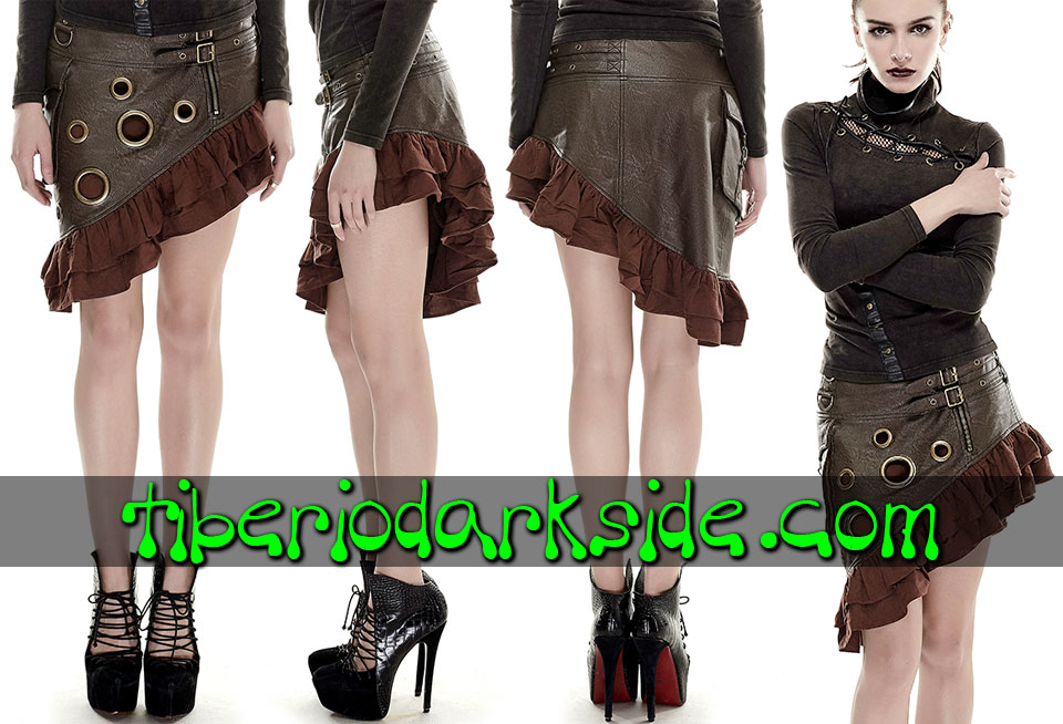 POST APOCALYPTIC - Faldas PUNK RAVE Falda Post Apocaliptica Bolsillo Lateral Marron