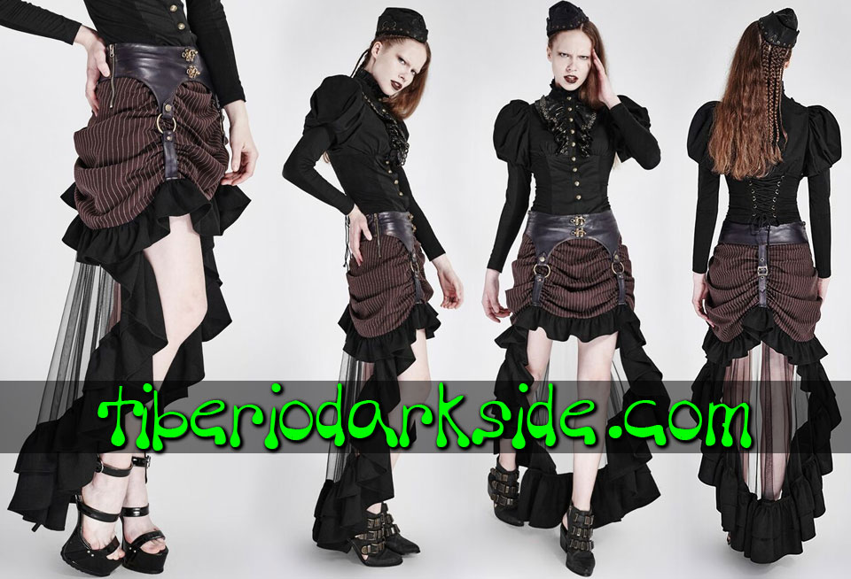 Faldas - Degradadas PUNK RAVE Falda Steampunk Marron Rayas Cola Transparente