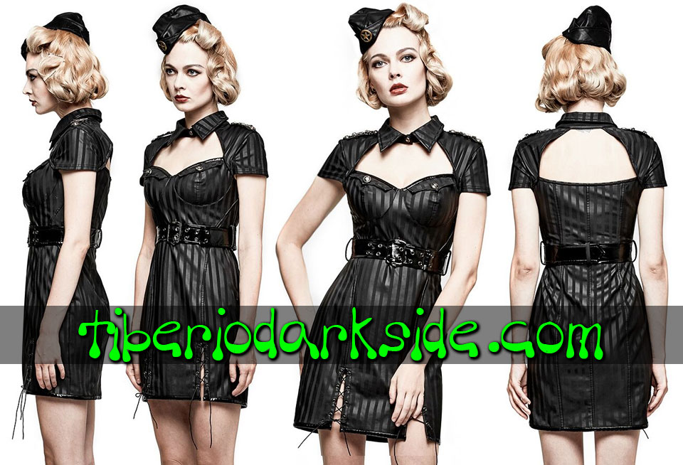 Dresses - Short - Short Sleeve PUNK RAVE Stripes Synthetic Leather Military Dress