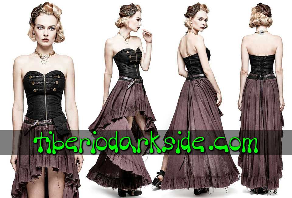 STEAMPUNK - Vestidos PUNK RAVE Vestido Steampunk Bolsillo Lateral Marron