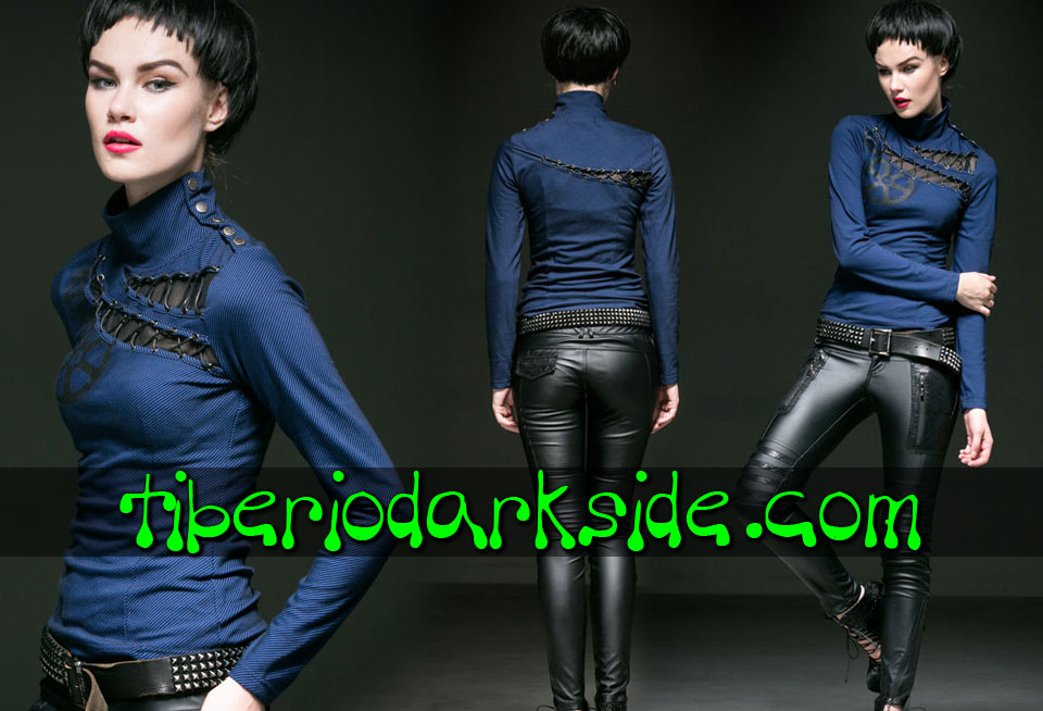 Tops - Manga Larga PUNK RAVE Top Steampunk Engranajes Azul