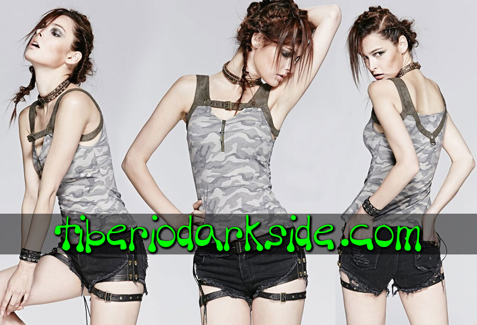 POST APOCALYPTIC & CYBER GOTH - Tops PUNK RAVE Top Post Apocaliptico Camuflaje
