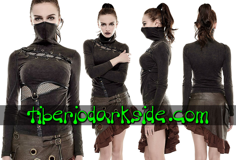 POST APOCALYPTIC - Tops PUNK RAVE Top Post Apocaliptico Ninja Marron