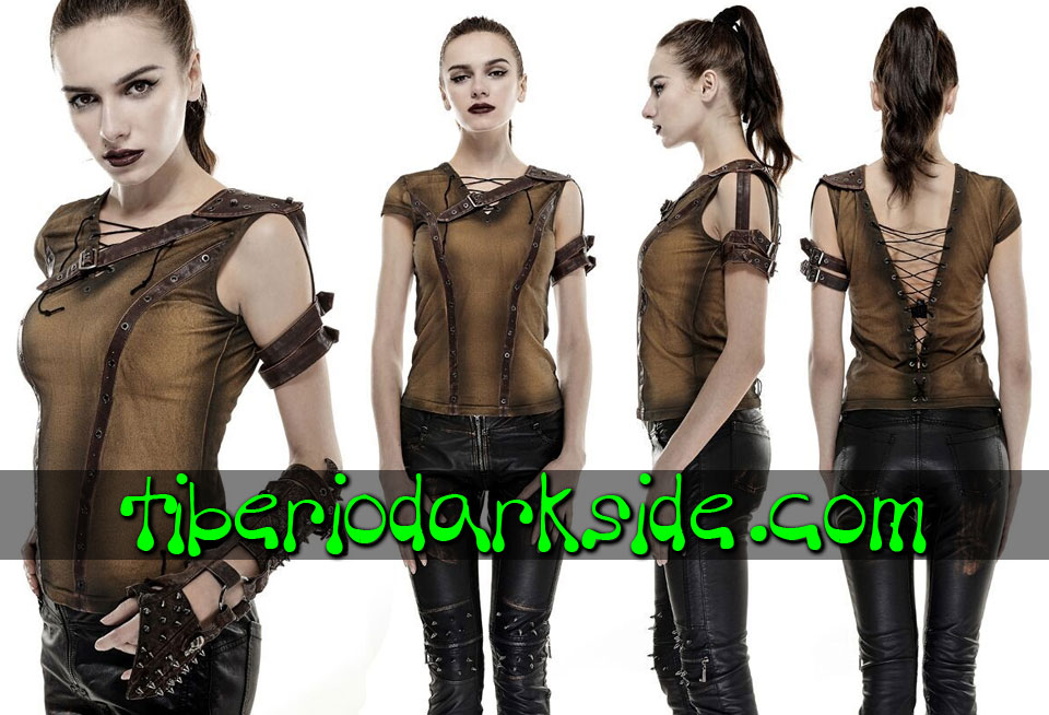 POST APOCALYPTIC - Tops PUNK RAVE Top Post Apocaliptico Furiosa Marron