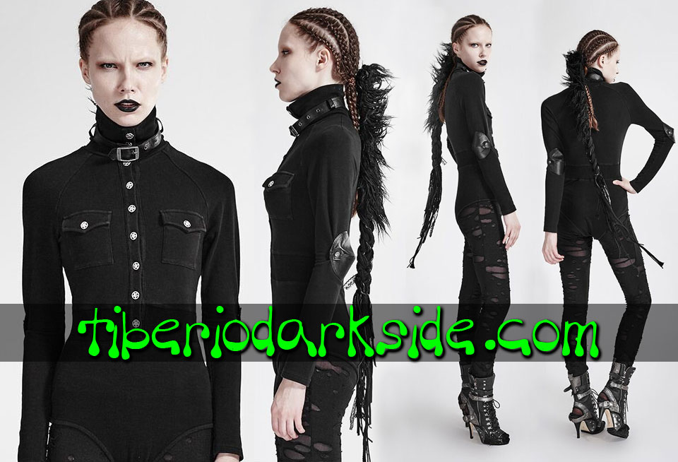 MILITARY GOTH - Camisas y Tops PUNK RAVE Body Militar Uniforme Negro