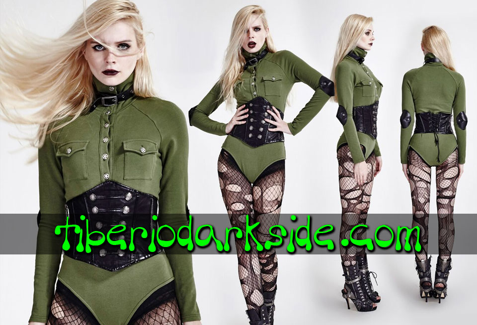 MILITARY GOTH - Camisas y Tops PUNK RAVE Body Militar Uniforme Verde
