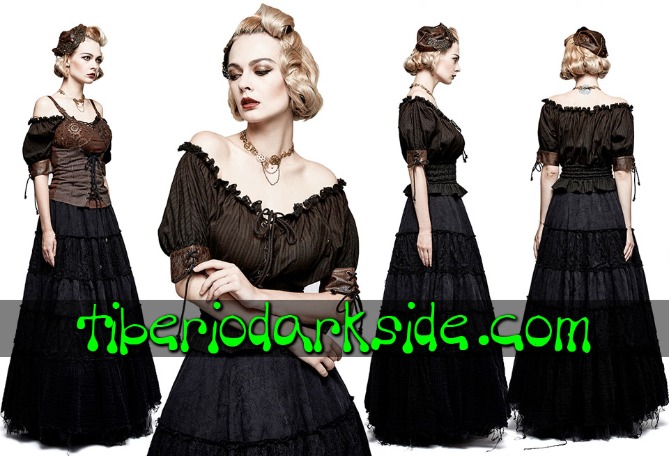 STEAMPUNK - Tops PUNK RAVE Blusa Steampunk Mesonera Negro