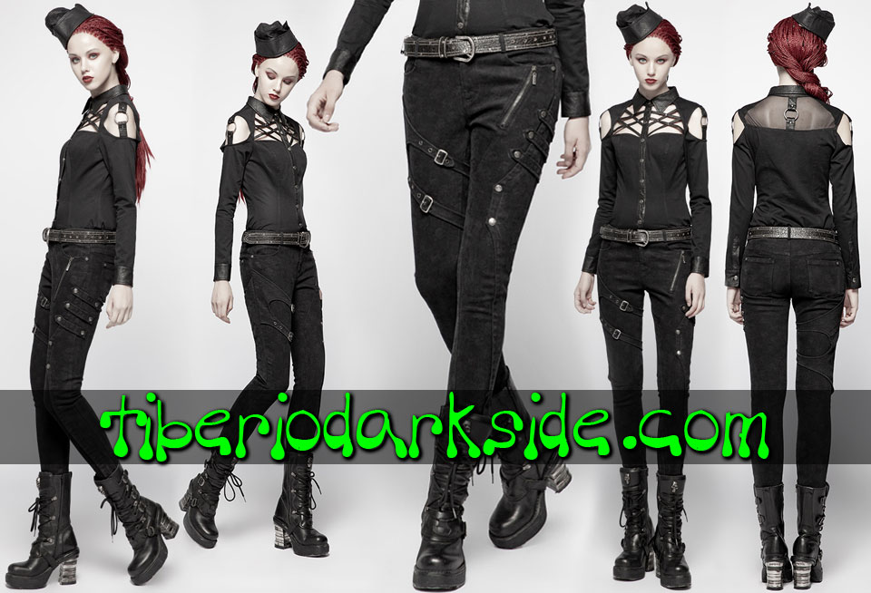MILITARY GOTH - Trousers PUNK RAVE Skull Print Military Goth Trousers