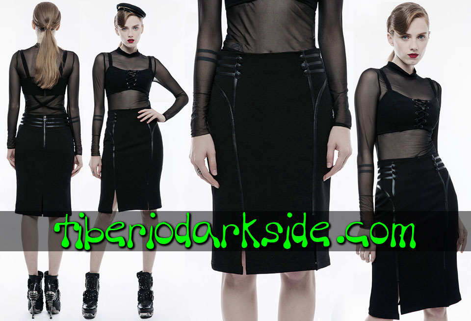 Faldas - Midi PUNK RAVE Falda Corporate Goth Negro