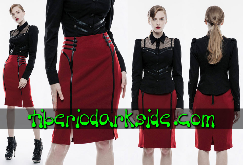 Faldas - Midi PUNK RAVE Falda Corporate Goth Rojo