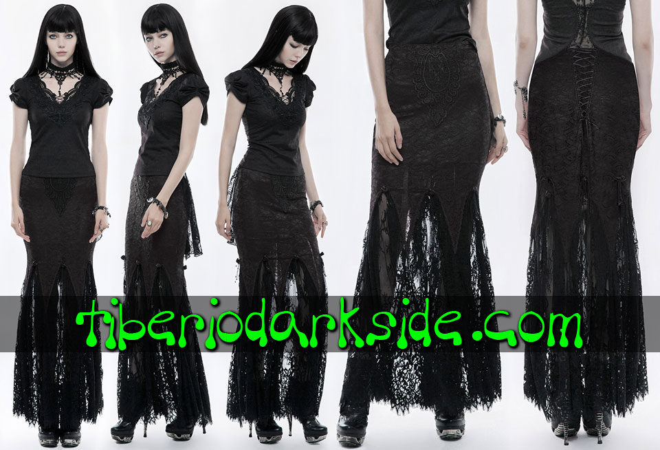 - VICTORIAN GOTH PUNK RAVE Black Lace Overlay Gothic Skirt