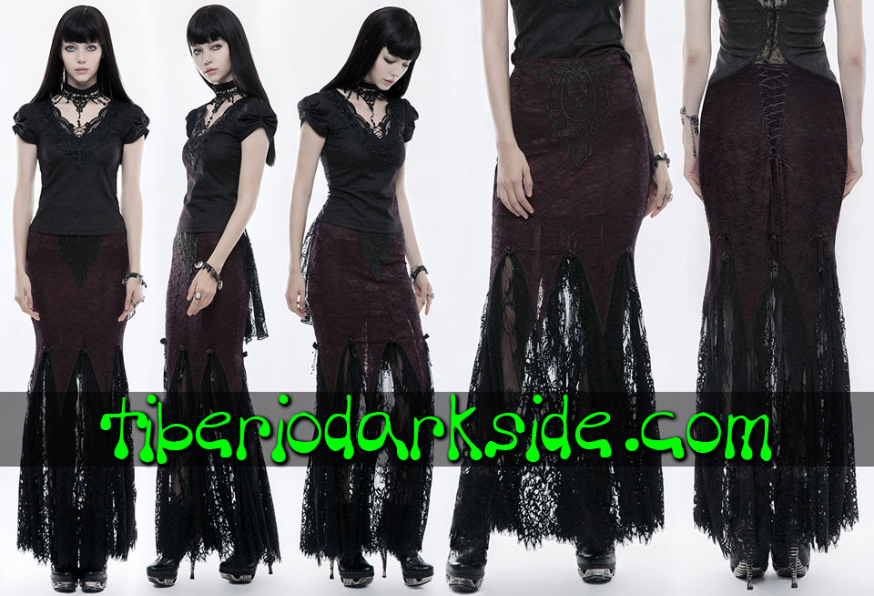 - VICTORIAN GOTH PUNK RAVE Burgundy Lace Overlay Gothic Skirt