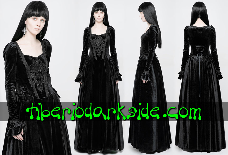 - VICTORIAN GOTH PUNK RAVE Guipure Chest Black Velvet Gothic Dress