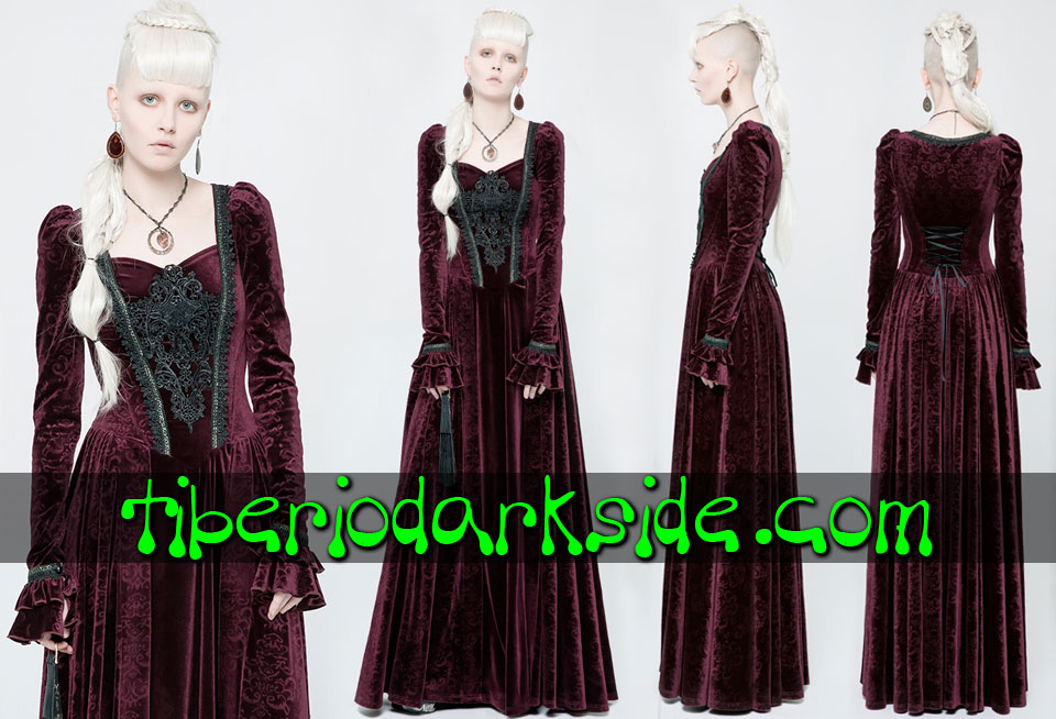 - VICTORIAN GOTH PUNK RAVE Guipure Chest Red Velvet Gothic Dress