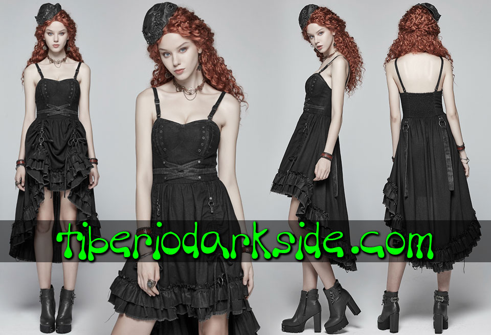STEAMPUNK - Vestidos PUNK RAVE Vestido Steampunk Largo Regulable Negro