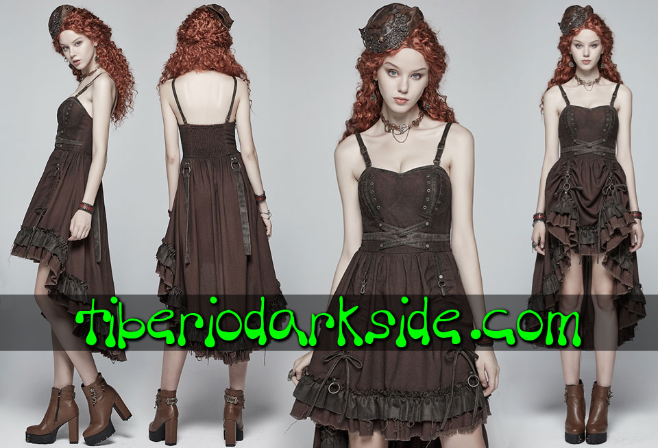 STEAMPUNK - Vestidos PUNK RAVE Vestido Steampunk Largo Regulable Marron