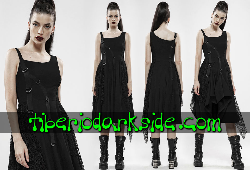 CASUAL GOTH - Dresses PUNK RAVE Black Rings Asymmetric Casual Goth Dress