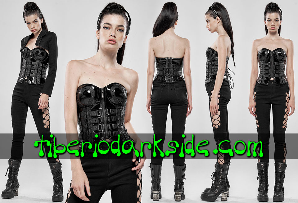 - CYBER GOTH PUNK RAVE Corse Overbust Cyber Goth Tiras Corazon Negro