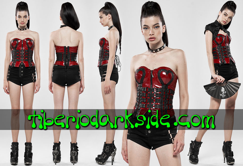 - CYBER GOTH PUNK RAVE Corse Overbust Cyber Goth Tiras Corazon Rojo