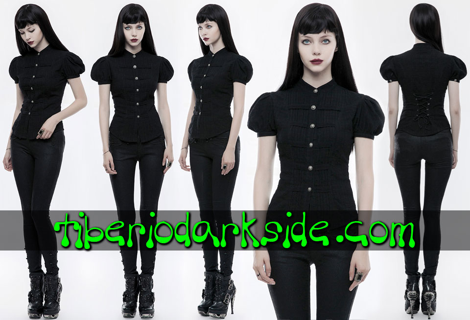 - GOTHIC LOLITA PUNK RAVE Puffed Sleeves Pleated Gothic Lolita Shirt