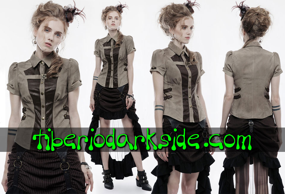STEAMPUNK - Shirts PUNK RAVE Brown Military Steampunk Shirt