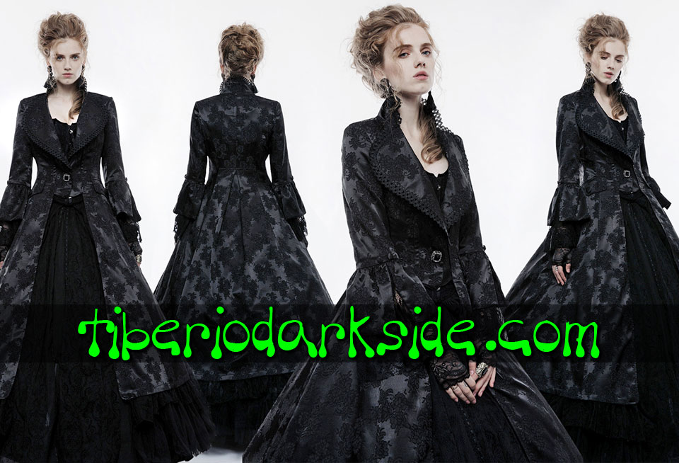 - VICTORIAN GOTH PUNK RAVE Black Floral Brocade Venetian Gothic Coat