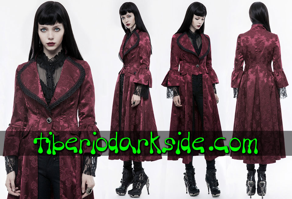 - VICTORIAN GOTH PUNK RAVE Red Floral Brocade Venetian Gothic Coat