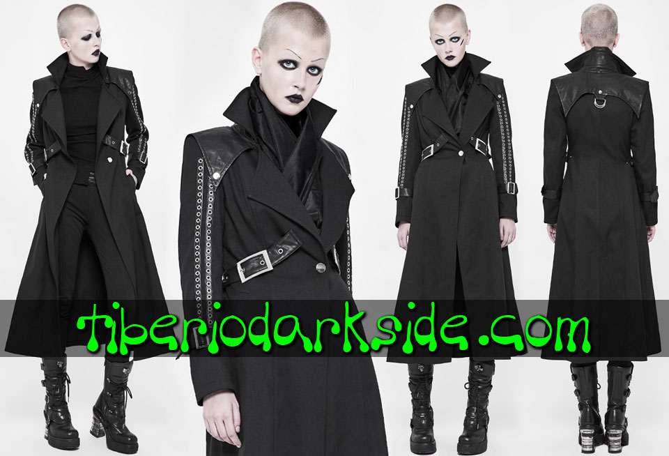 POST APOCALYPTIC - Outwear PUNK RAVE Sleeve Eyelets Cyber Goth Coat