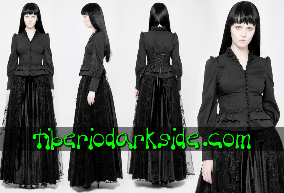 - CLASSIC & VICTORIAN GOTH PUNK RAVE Trimmed V Neck Victorian Goth Shirt