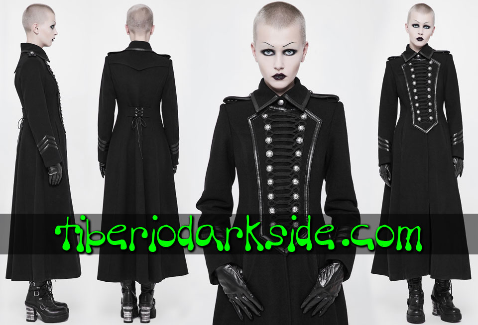 CORPORATE & MILITARY GOTH - Ropa de Abrigo PUNK RAVE Abrigo Militar Uniforme Doble Botonadura