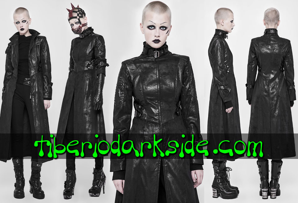 POST APOCALYPTIC - Outwear PUNK RAVE Crocodile Synthetic Leather Cyber Goth Coat
