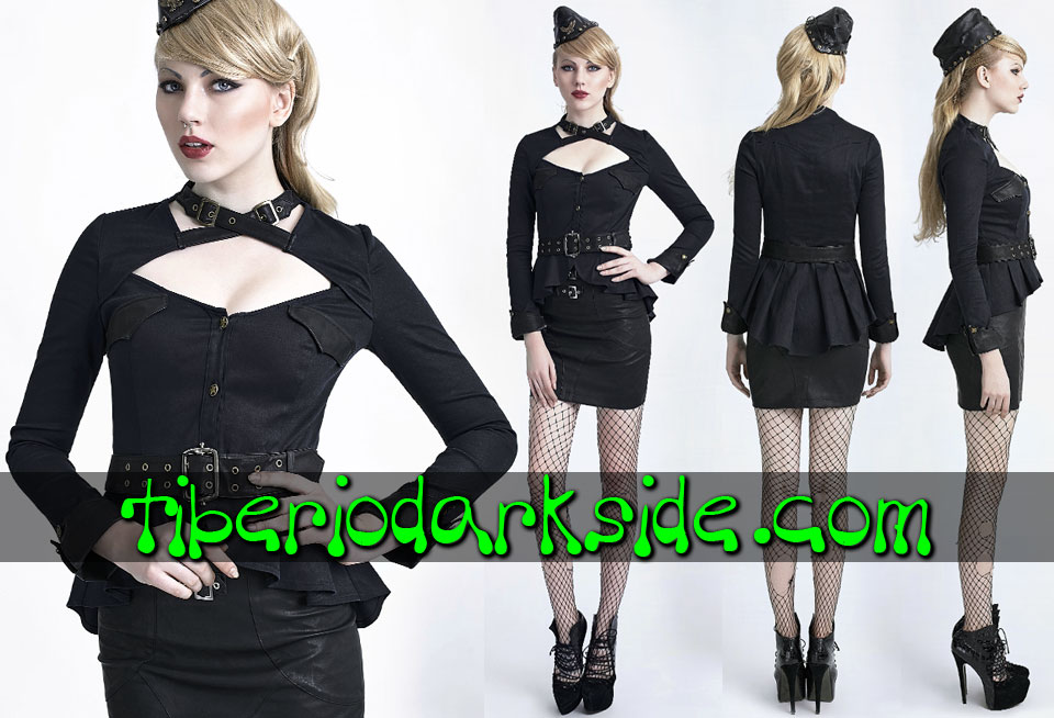 CORPORATE & MILITARY GOTH - Camisas y Tops PUNK RAVE Camisa Militar Hebillas Negro