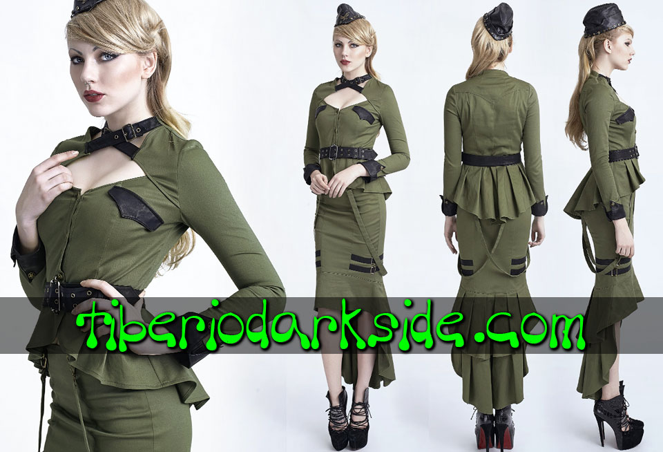 CORPORATE & MILITARY GOTH - Camisas y Tops PUNK RAVE Camisa Militar Hebillas Verde