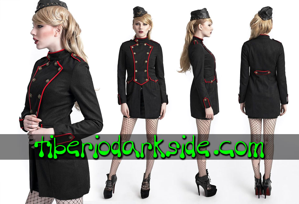 CORPORATE & MILITARY GOTH - Ropa de Abrigo PUNK RAVE Abrigo Militar Uniforme Negro