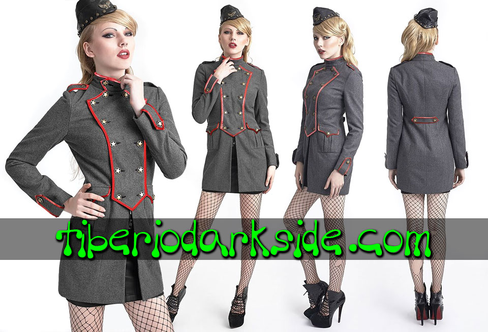 CORPORATE & MILITARY GOTH - Ropa de Abrigo PUNK RAVE Abrigo Militar Uniforme Gris