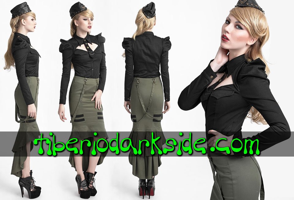 CORPORATE & MILITARY GOTH - Camisas y Tops PUNK RAVE Camisa Militar Corbata Negro