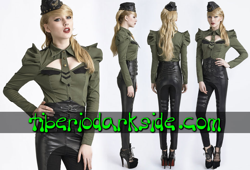 CORPORATE & MILITARY GOTH - Camisas y Tops PUNK RAVE Camisa Militar Corbata Verde
