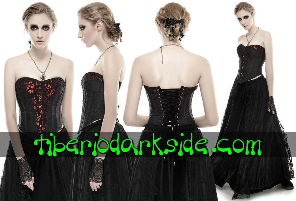 - CLASSIC & VICTORIAN GOTH PUNK RAVE Red Brocade Gothic Corset