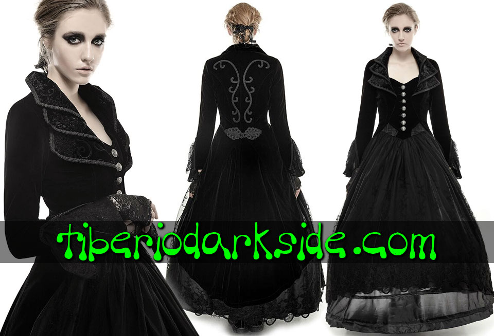 - VICTORIAN GOTH PUNK RAVE Long Velvet Gothic Tail Jacket