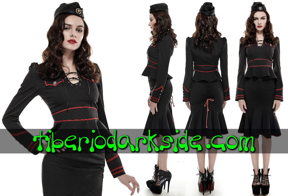 CORPORATE & MILITARY GOTH - Camisas y Tops PUNK RAVE Camisa Uniforme Raya Diplomatica Rojo
