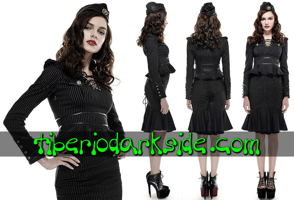 CORPORATE & MILITARY GOTH - Camisas y Tops PUNK RAVE Camisa Uniforme Raya Diplomatica Blanco