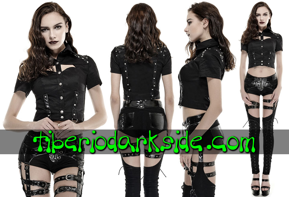 CORPORATE & MILITARY GOTH - Camisas y Tops PUNK RAVE Camisa Militar Remaches Negro