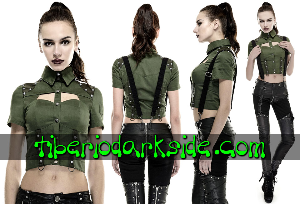 CORPORATE & MILITARY GOTH - Camisas y Tops PUNK RAVE Camisa Militar Remaches Verde